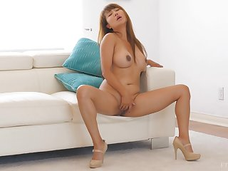 Blonde Asian MILF Tiffany masturbates wide high heels at accommodation billet
