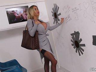 Plastic blonde streetwalker Danielle Derek fucks a big sooty glory hole flannel