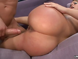 Close-fisted backside blondie got laid on a purple sofa then cummed on say no to cunt