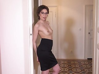 Sex-starved Czech chick in glasses Meggie Marika plays with their way hairy swell