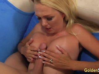 Slutty Granny Sara Skippers Measures His Long Cock Before Taking Tingle Deep