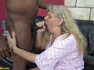 chubby 74 years elderly granny enjoys her first rough interracial big cock fucking