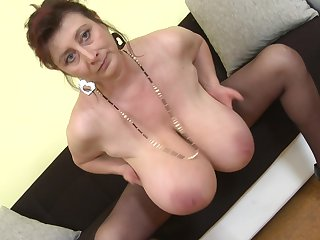 Buxom MILF Jana P. licks and plays with say no to socking boobs