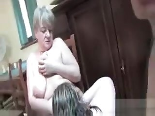 Nasty Grandma In A Foursome With Roasting Guys