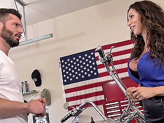 Ariella sucked and fucked this lucky mechanic in the garage