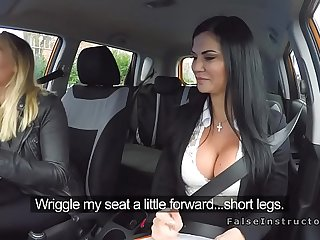 Hot blonde girl got talked into licking a friend's pussy with respect to a car