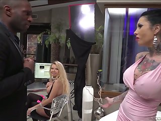 Hot blooded black ally fucks tattooed hoe Megan Inky and her insatiable GF