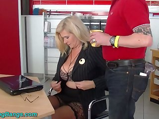 Unprincipled huge breasted warehouse journo Marina Montana is fucked by studs