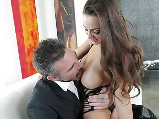 Elder dude fucks graceful chick with juicy pair Abigail Mac and cums in say no to opened mouth