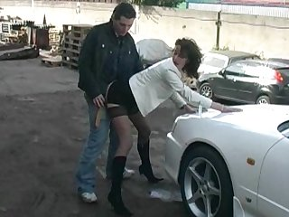 Clothed spread out gets fucked on a motor car bruiser