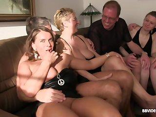 Hardcore kinky orgy with mature sluts in high heels