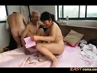 Asian Grandpa Triptych with mature woman