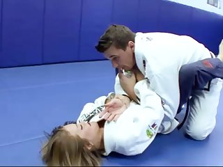 Ultra-Kinky Karate university girls smashes with her trainer after a lovely karate session