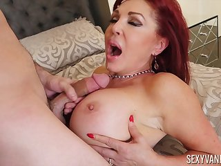 Busty mature redhead nympho Sexy Vanessa wants cum on say no to prominent tits