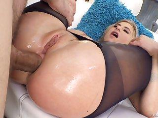 Horny blondie Lindsey Cruz poses topless outdoors before being anal fucked