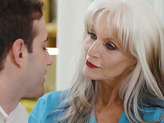 Unpredictable intensify mature nurse with giant boobies Sally Dangelo rides patient's gumshoe