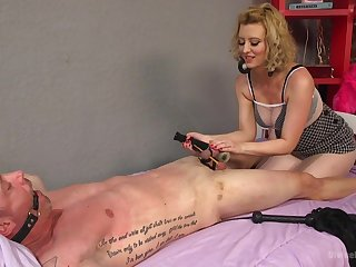 Exploitive and painful dick torture session by blonde Reddish Torn
